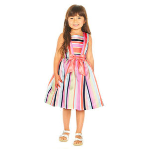 Pippa & Julie Colorful Striped Girls Dress 2T 4 5